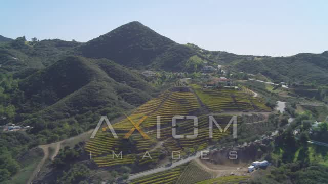 Flying by homes in the hills, Malibu, California Aerial Stock Footage | DCA05_136