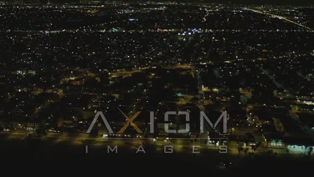 Flying by residential neighborhood, Venice, California, night Aerial Stock Footage | DCA07_169