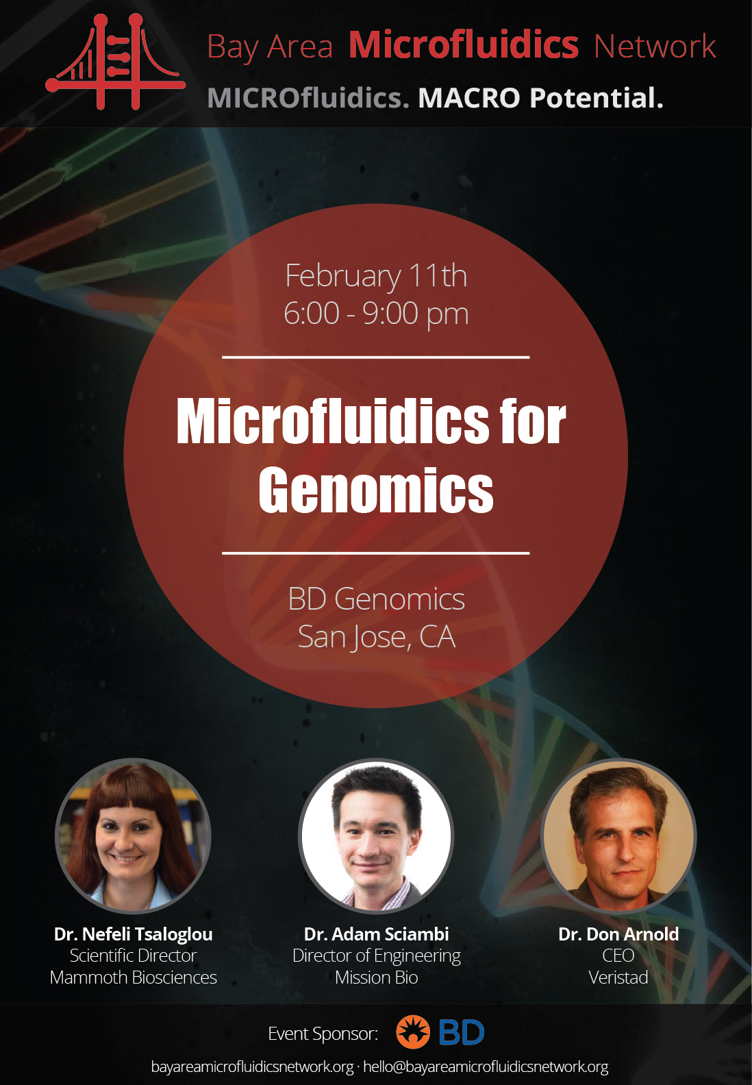Bay Area Microfluidics Network BD event announcement flyer