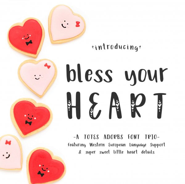 totes adorbs Bless Your Heart Font Trio