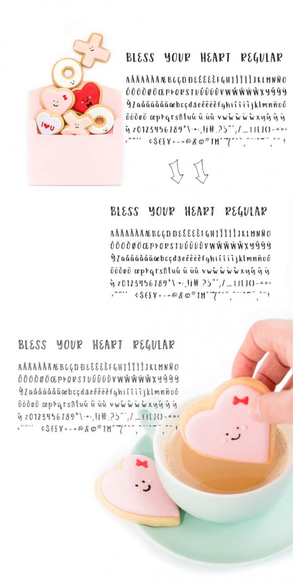 character map Bless Your Heart Font Trio
