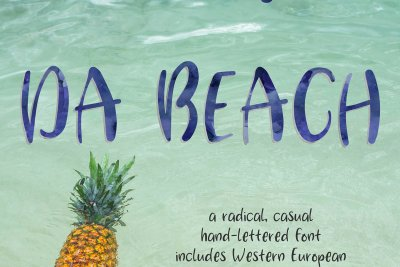 radical, casual Da Beach Hand-Lettered Font