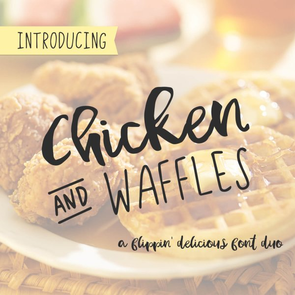 Chicken and Waffles Delicious Font Duo