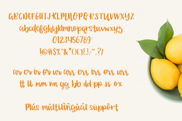 characters and ligatures for Orange Grove Script
