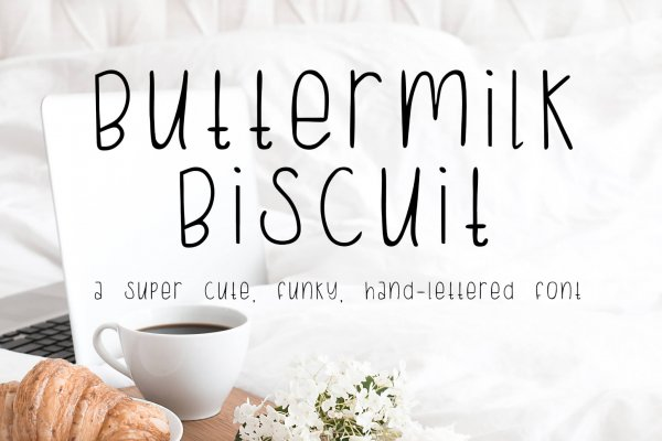 funky, hand lettered Buttermilk Biscuit font