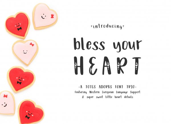 Bless Your Heart font trio solid, inline and hearts
