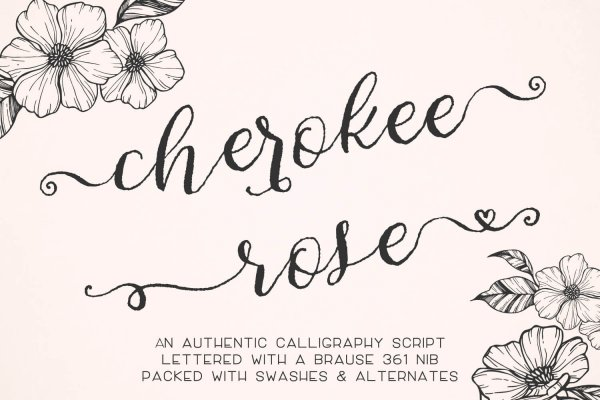 Cherokee Rose authentic calligraphy script font