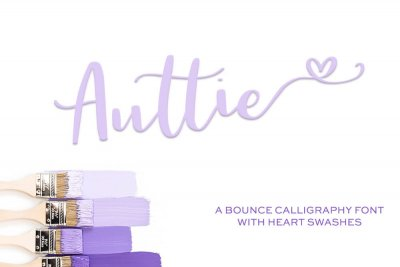 bounce calligraphy Auttie Script Font with Heart Swashes