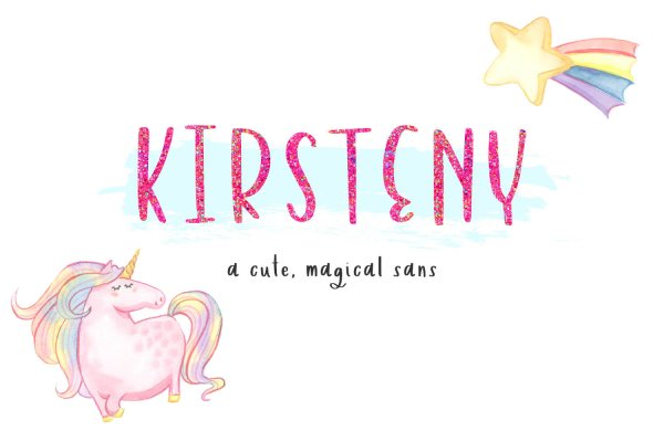 Kirsteny Hand-lettered Sans Font cute, magical