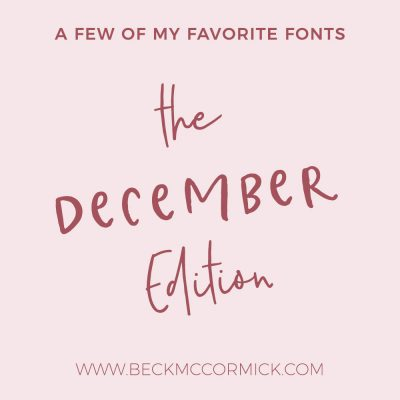 Font Crushes – The December Edition