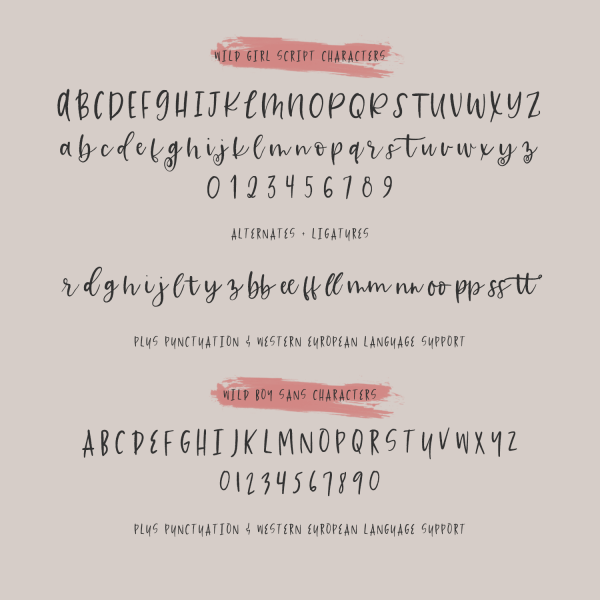 wild children rustic font duo