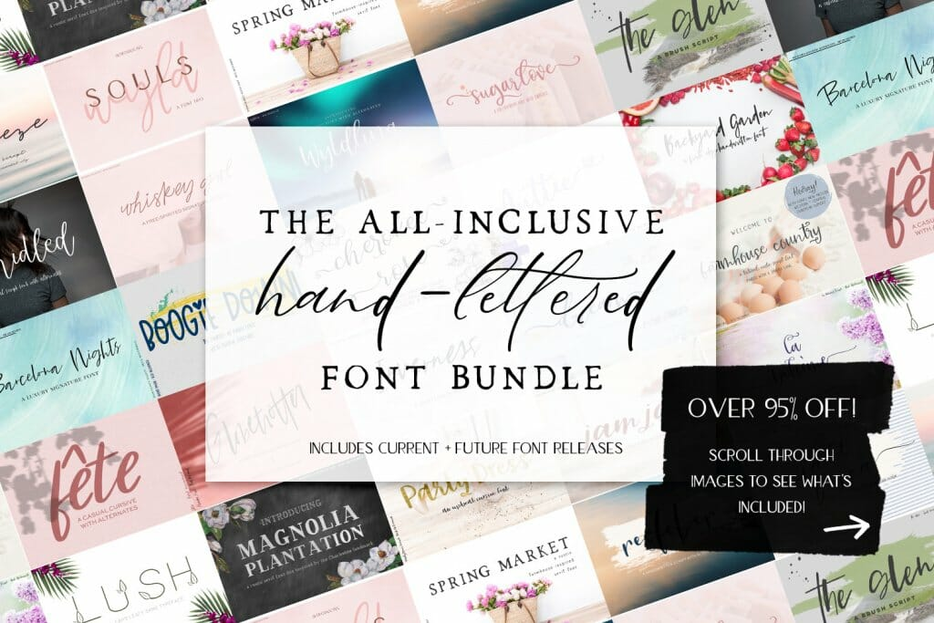 all-inclusive font bundle for $25