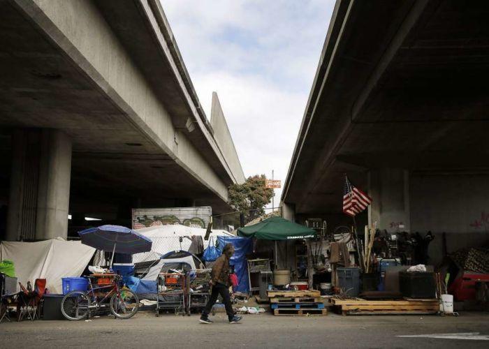 Homeless encampment under freeway
