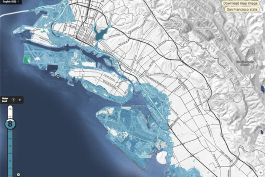 Map shows sea inundation in Oakland