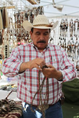 image of a rawhide craftsman at Bishop Mule Days