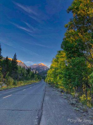 South Lake road near Tyee trailhead, late afternoon early fall.