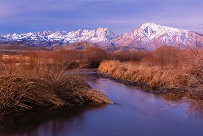 Owens Valley and Sierra Nevada winter dawn. Bishop. CA
