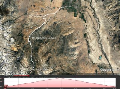 Map to South Lake. Bishop