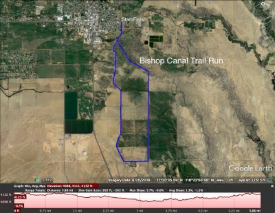 Map of trail run along Bishop Canal