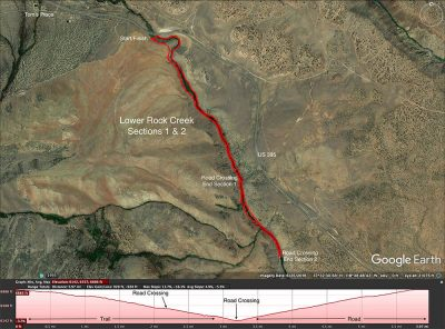 Map of Lower Rock Creek trail ride