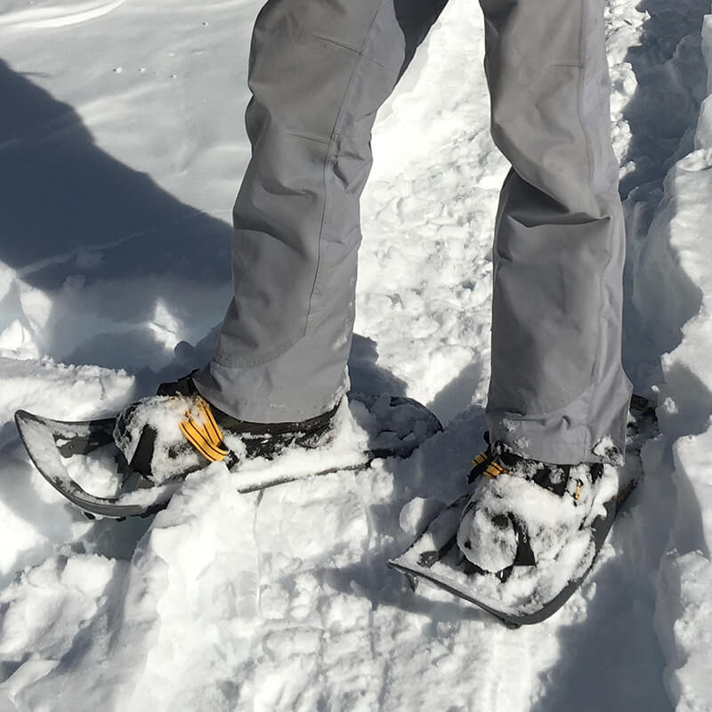 Close up of man's feet walking in snowshoes