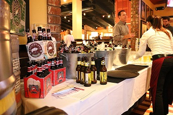 Beers arranged on tables that section off VIP section of restaurant