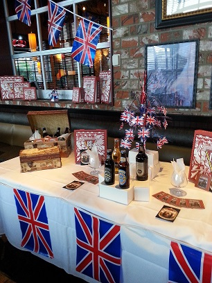 British-themed table layout for BJ's beer tasting & dinner