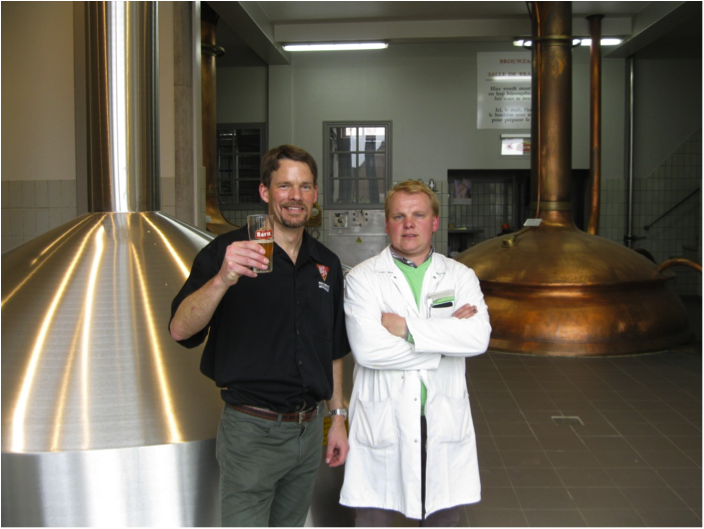 Alex Puchner, BJ's SVP of Brewing Operations & Bavik's Brewmaster, Yves Benoit celebrate Camaraderie Ale
