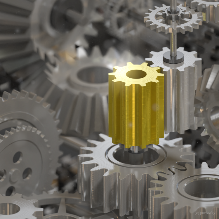 Gear objects from the second model in the Ultimate Modeling Guide, made with Blender 2.8, rendered w