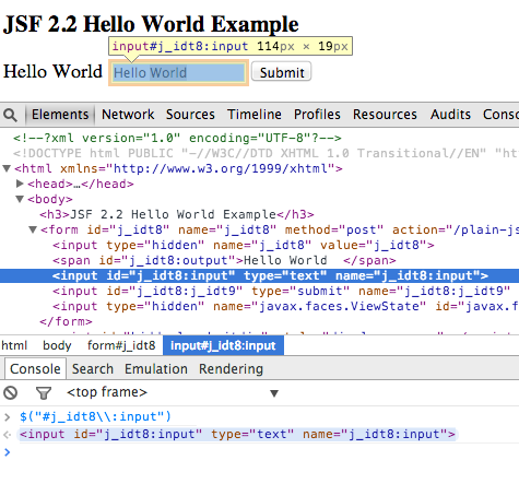 JSF Hello World Application