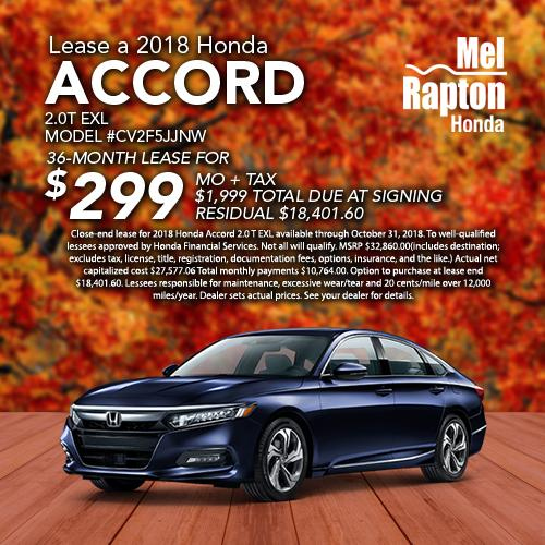 Accord 2.0 T EXL: Close End Lease For 2018 Honda Accord 2.0 T EXL  Available Through October 31st , 2018. To Well Qualified Lessees Approved  By Honda ...