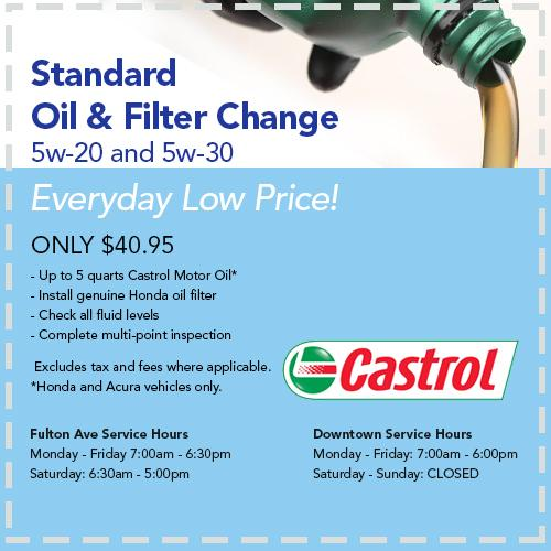 Standard Oil Change Offer. Print. Service Specials