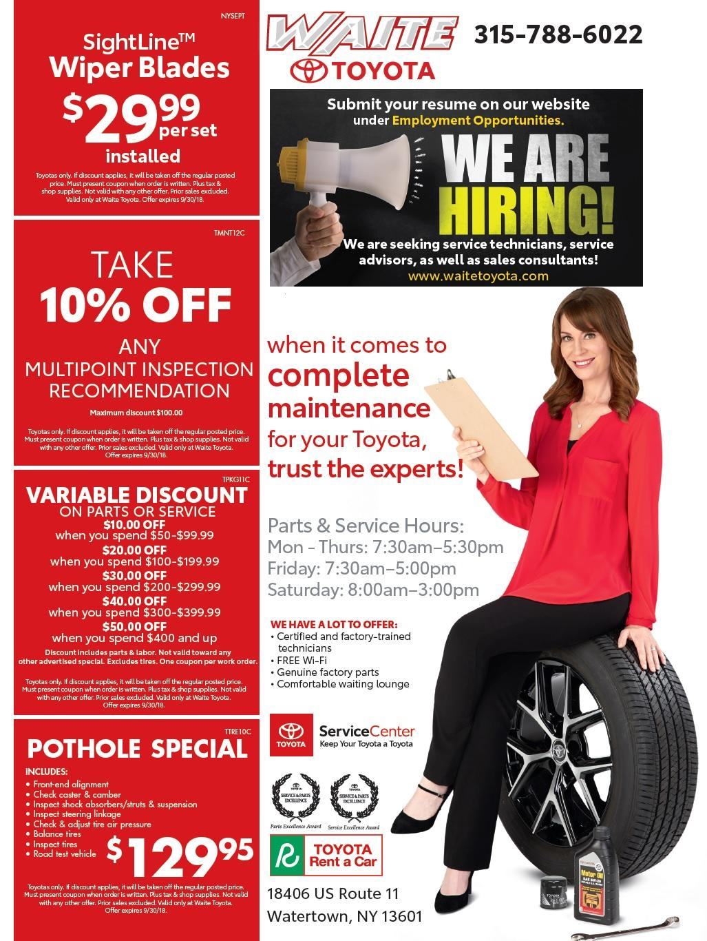 ... Service U0026 Parts Specials Waite Toyota In Watertown