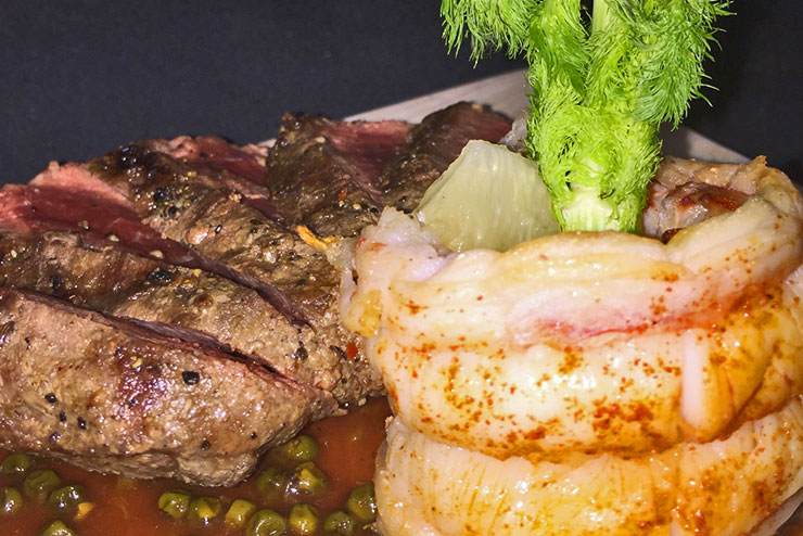 Surf and Turf on a Board Fire Grilled Flat Iron