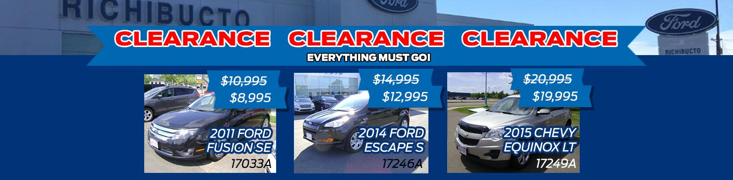 Used clearance Richibucto Motors