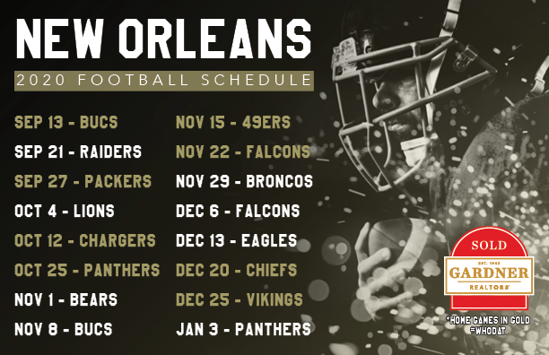 Saints 2020 Schedule Postcard
