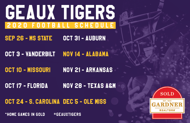 LSU 2020 Schedule Postcard