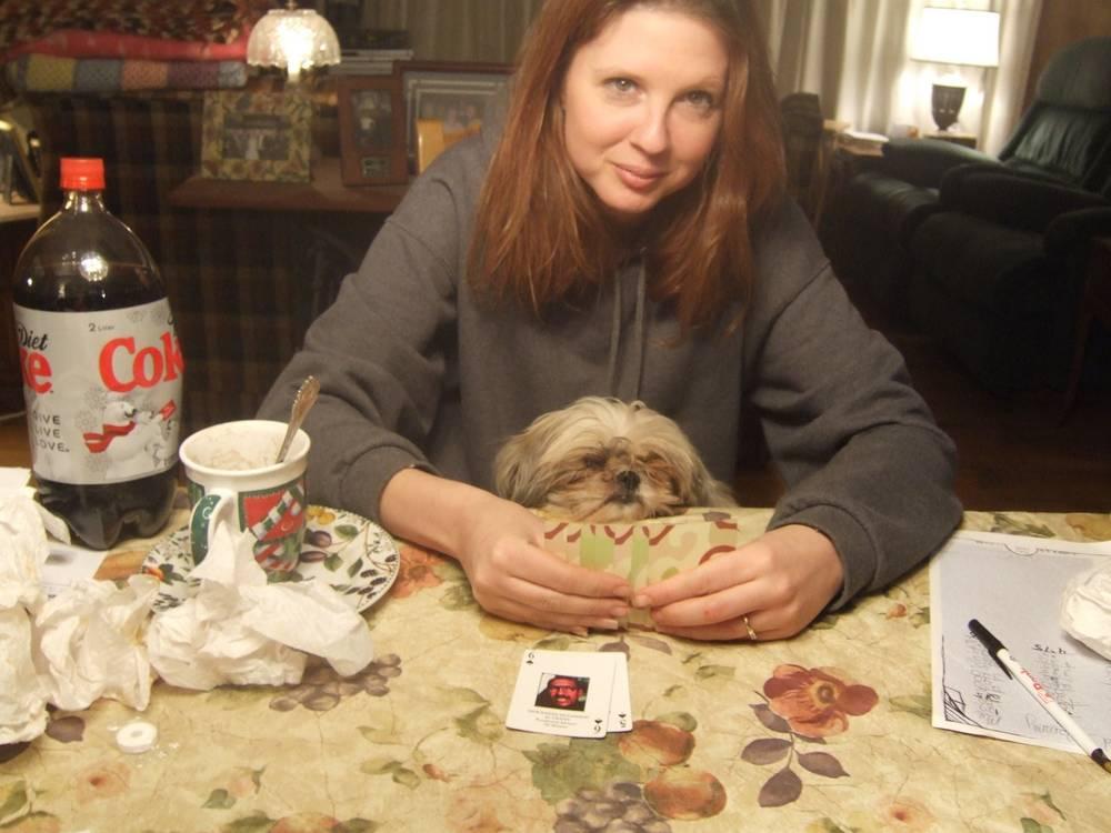 Nikki playing cards w/ Adrienne