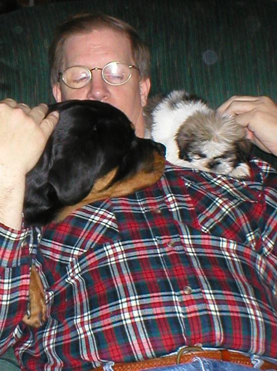 """Rocky @ 5 mos w/ Dad & Baby Shih-Tzu """"Nikki"""""""