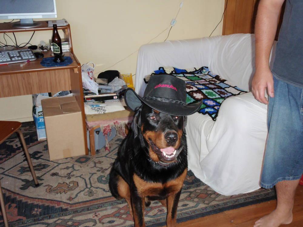 Sabbath showing of his cowboy hat