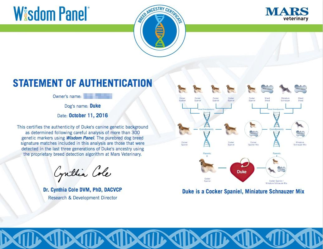 wisom panel DNA results