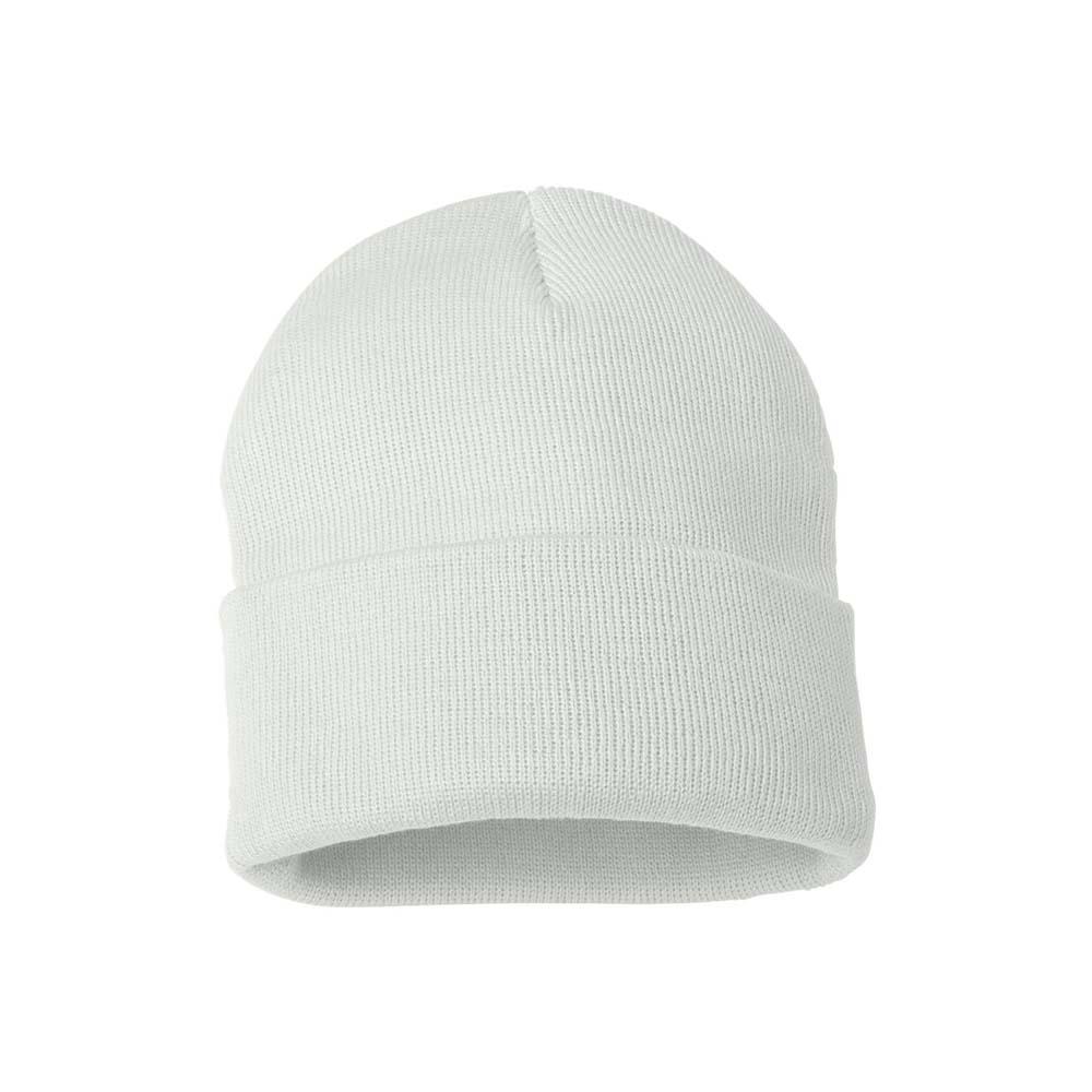 White fold over beanie