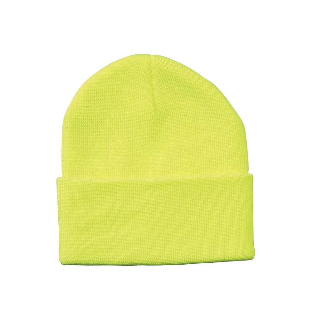 Neon yellow fold over beanie