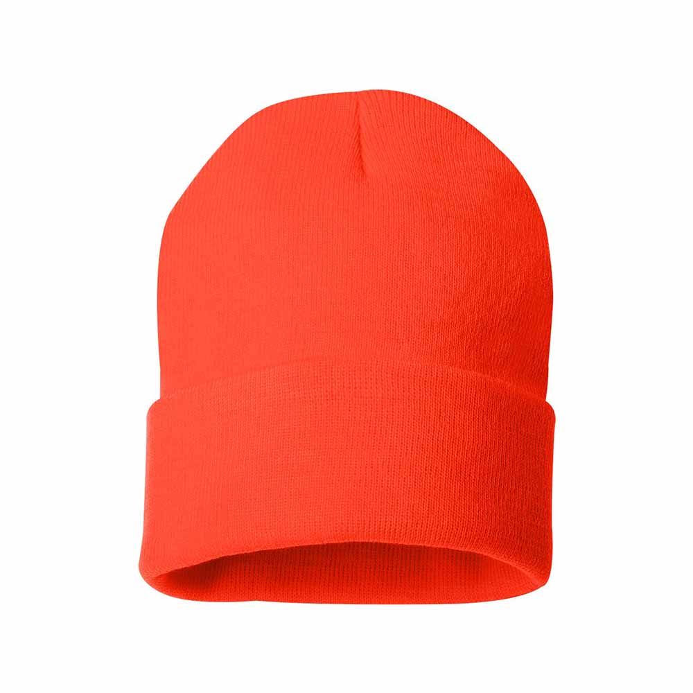 Heat orange fold over beanie