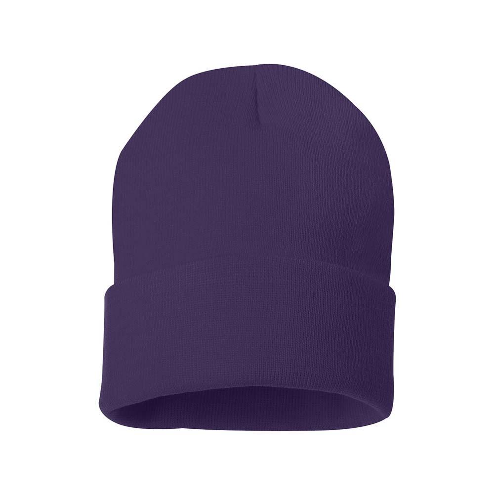 Purple fold over beanie