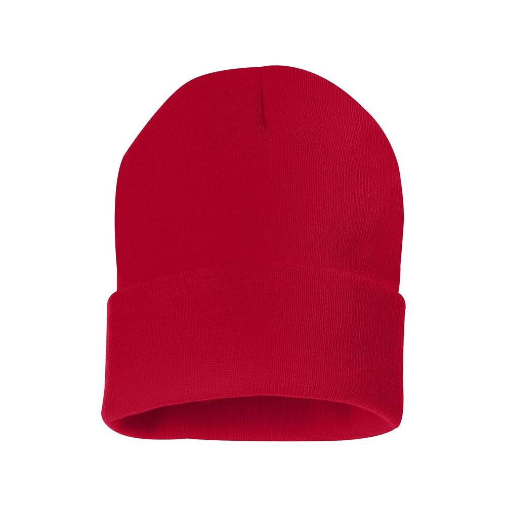 Red fold over beanie