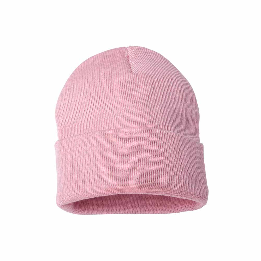 Pink fold over beanie
