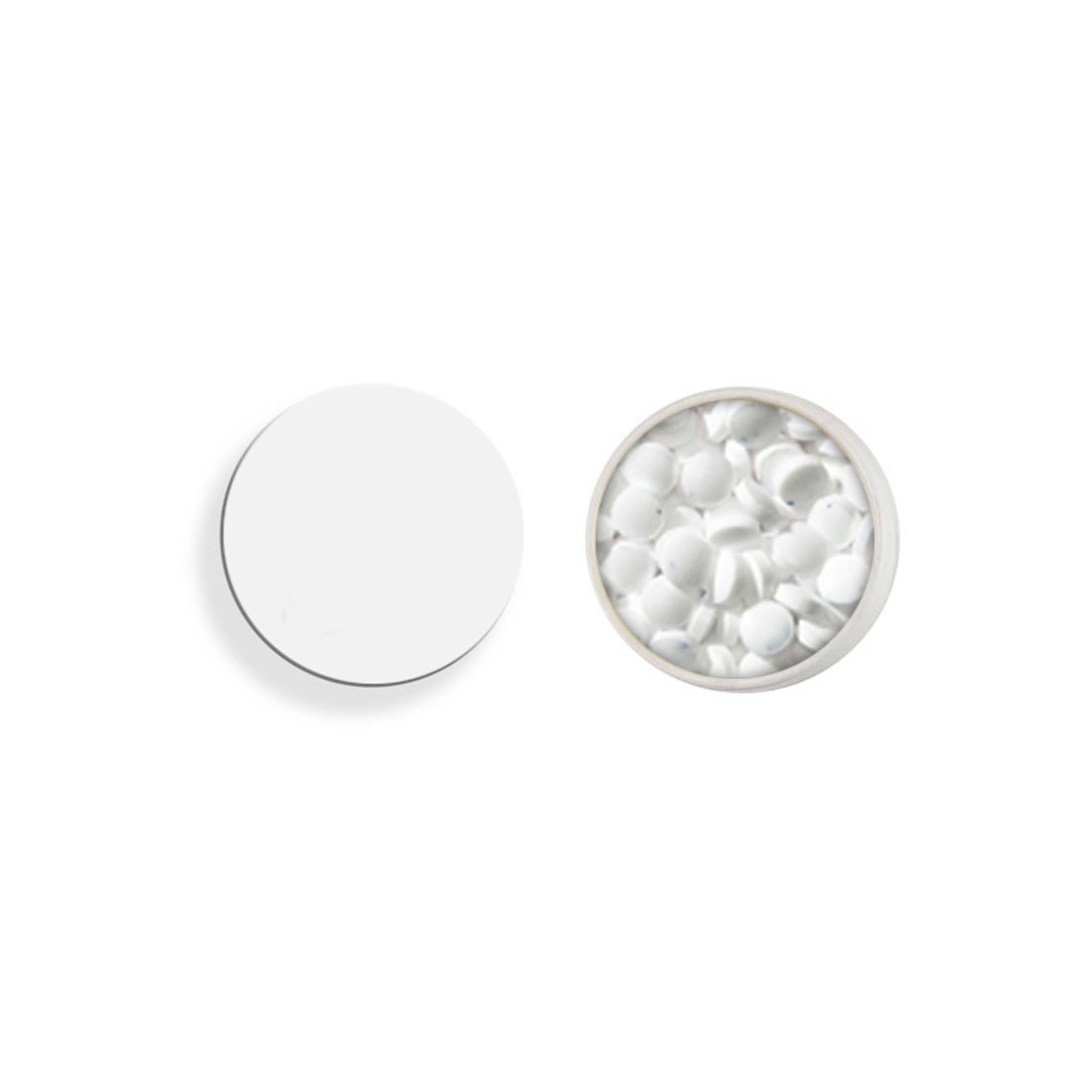 White new round tin mints two color screen
