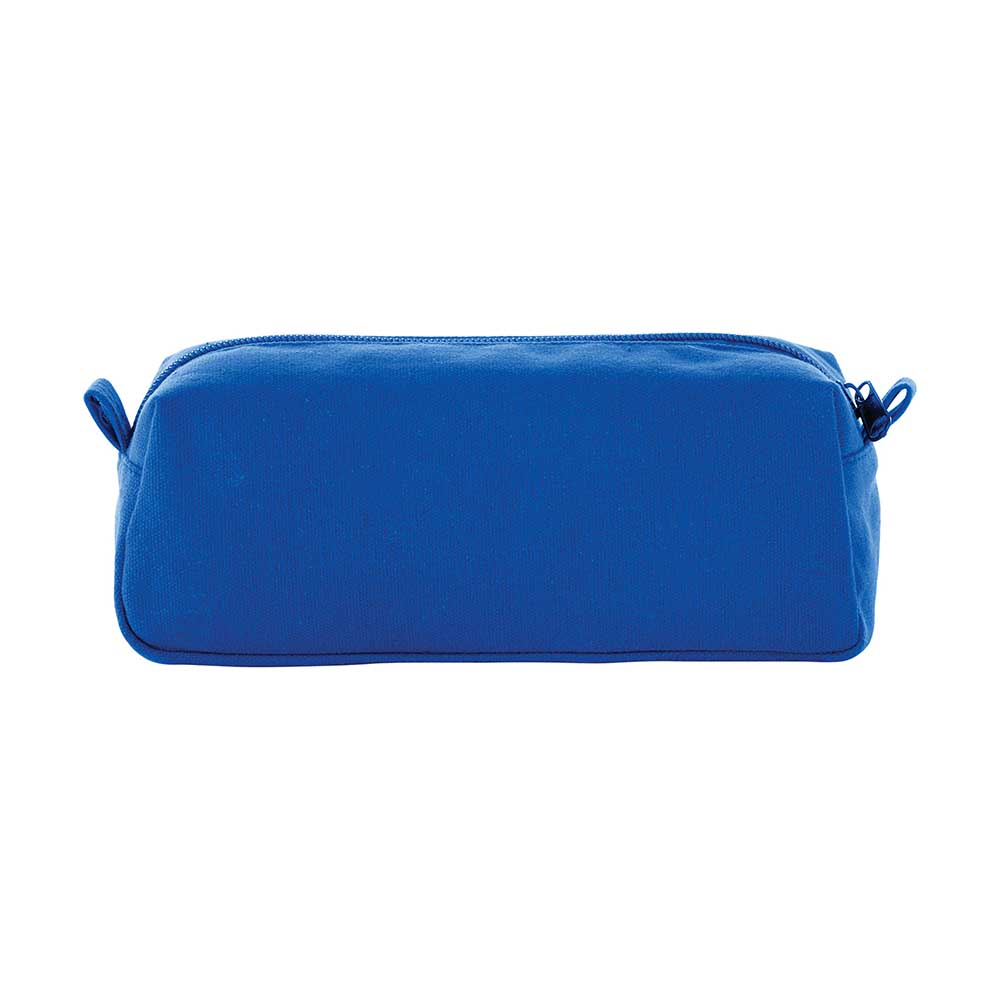 Blue canvas travel pouch