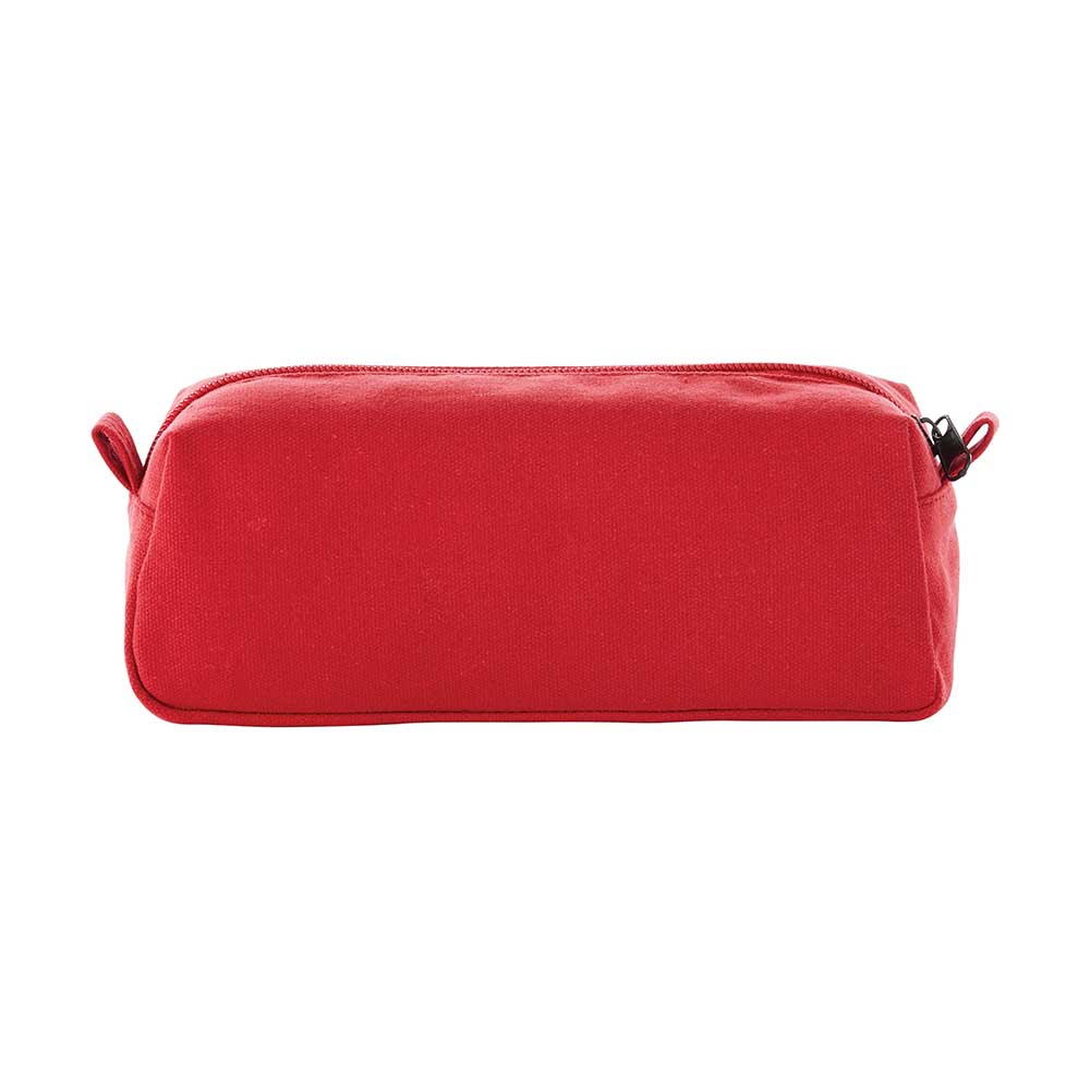 Red canvas travel pouch